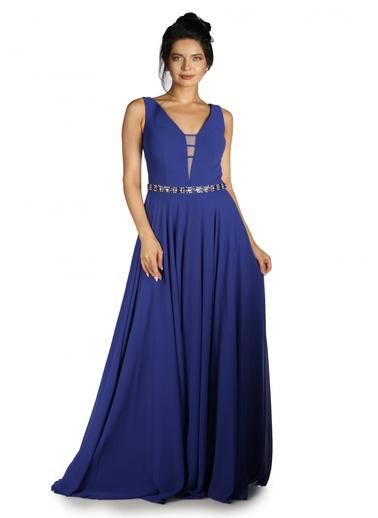 Pierre Cardin Şifon Beli Taş İşlemeli Uzun Abiye Elbise Saks